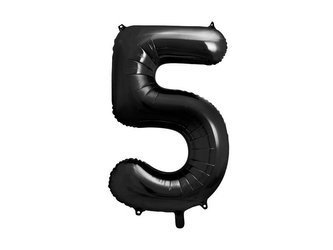 """Balon foliowy Cyfra """"5"""" pięć - 86 cm - czarny"""