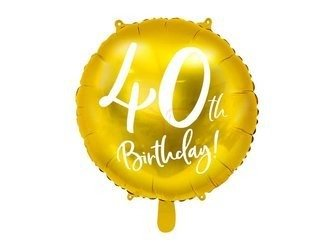 Balon foliowy 40th Birthday - 40 urodziny - złoty - 45 cm