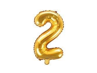 """Balon foliowy Cyfra """"2"""" dwa - 35 cm - złoty"""