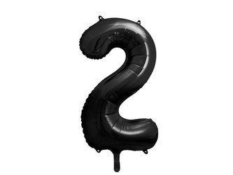 """Balon foliowy Cyfra """"2"""" dwa - 86 cm - czarny"""