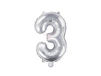"Balon foliowy Cyfra ""3"" trzy - 35 cm - srebrny"