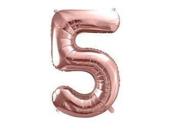 """Balon foliowy Cyfra """"5"""" pięć - 86 cm - różowe złoto"""