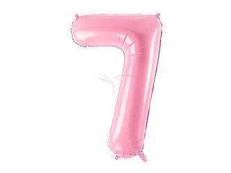 """Balon foliowy Cyfra """"7"""" siedem - 86 cm - różowy"""
