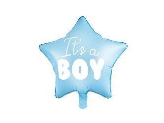 Balon foliowy Gwiazdka - It's a boy - 48 cm - jasny niebieski