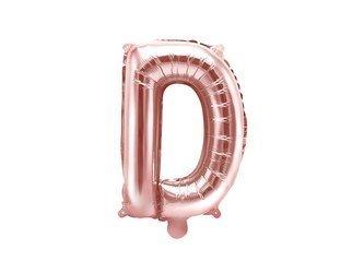 """Balon foliowy Litera """"D"""" - 35 cm - różowe złoto"""