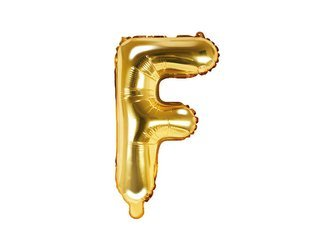 """Balon foliowy Litera """"F"""" - 35 cm - złoty"""