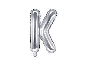 """Balon foliowy Litera """"K"""" - 35 cm - srebrny"""