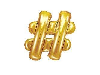 Balon foliowy # - hasztag - 35 cm - złoty