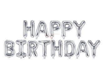 Balon foliowy napis Happy Birthday - 340x35 cm - srebrny