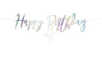 Baner Happy Birthday opalizujący - 16.5 x 62 cm