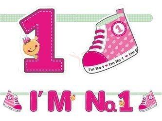 Baner I'm No. 1 - różowy - 110 cm