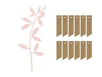 Dekoracja - Gałązki z listkami - pudrowy róż - 6 szt.