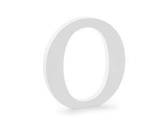 Drewniana litera O - 19,5 x 20,5 cm - biały