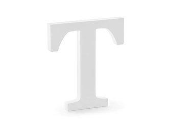 Drewniana litera T - 17,5 x 20 cm - biały