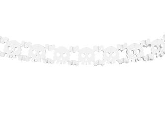 Girlanda papierowa - Czaszki - Biała - 300 cm