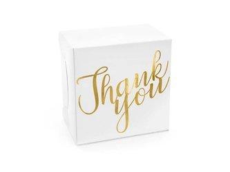 Ozdobne pudełka na ciasto - Thank you - 14 x 8,5 x 14 cm - złote - 10 szt.
