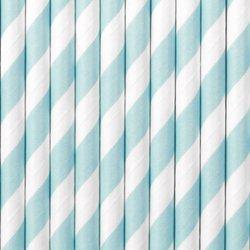 Słomki papierowe - 19,5 cm - jasnoniebieskie - 10 szt.