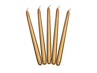 Świeca stożkowa metalizowana - 24 cm - złota - 10 szt.