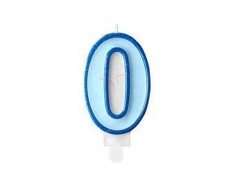 Świeczka urodzinowa Cyferka 0 - zero - niebieska - 7 cm