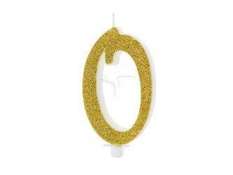 Świeczka urodzinowa Cyferka 0 - zero - złota - 10 cm