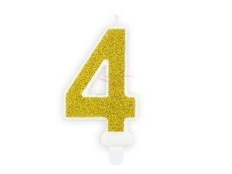 Świeczka urodzinowa Cyferka 4 - cztery - złoty - 7 cm