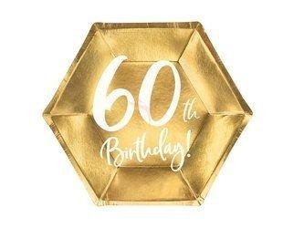 Talerzyki 60th Birthday - 60 urodziny - złoty - 20 cm - 6 szt.