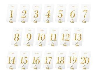 Transparentne numery na stół - 7 x 12 cm - złote - 20 szt.