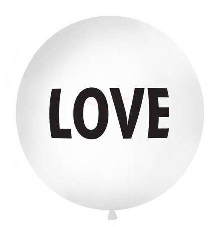 Balon 1 m - Love - biały - czarny napis