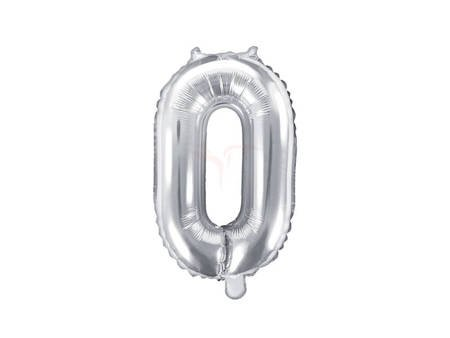 "Balon foliowy Cyfra ""0"" zero - 35 cm - srebrny"
