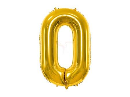 """Balon foliowy Cyfra """"0"""" zero - 86 cm - złoty"""