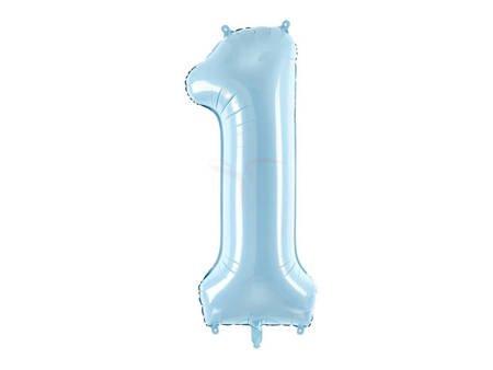 """Balon foliowy Cyfra """"1"""" jeden - 86 cm - jasny niebieski"""