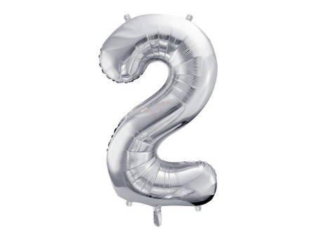"Balon foliowy Cyfra ""2"" dwa - 86 cm - srebrny"