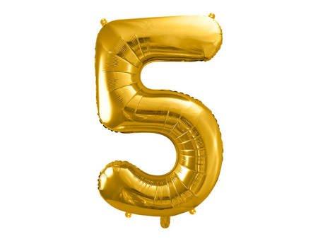 """Balon foliowy Cyfra """"5"""" pięć - 86 cm - złoty"""