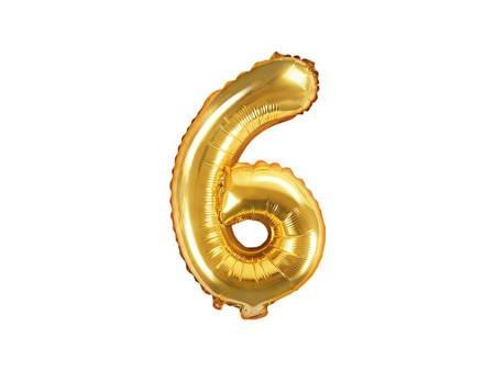 """Balon foliowy Cyfra """"6"""" sześć - 35 cm - złoty"""