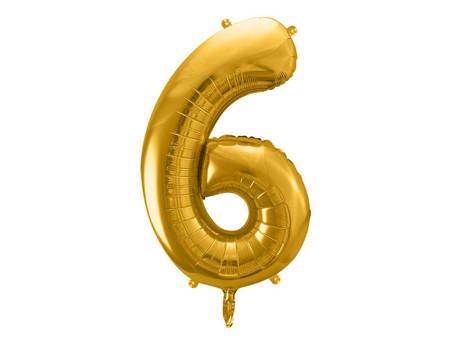 """Balon foliowy Cyfra """"6"""" sześć - 86 cm - złoty"""