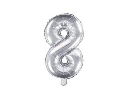 """Balon foliowy Cyfra """"8"""" osiem - 35 cm - srebrny"""