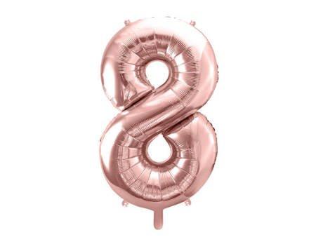 """Balon foliowy Cyfra """"8"""" osiem - 86 cm - różowe złoto"""