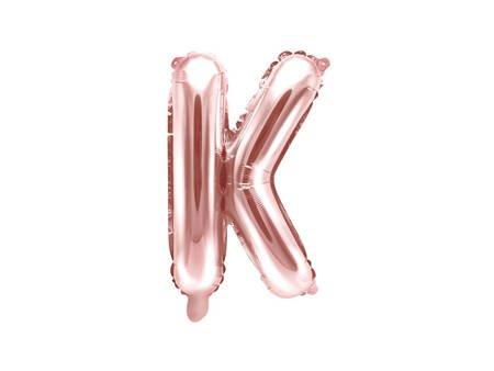 """Balon foliowy Litera """"K"""" - 35 cm - różowe złoto"""