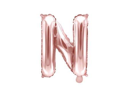 """Balon foliowy Litera """"N"""" - 35 cm - różowe złoto"""