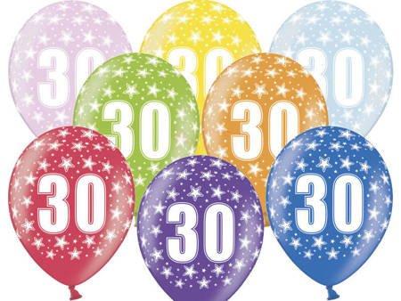 Balony 30 cm - 30th Birthday - 30 urodziny - Metallic Mix - 50 szt.