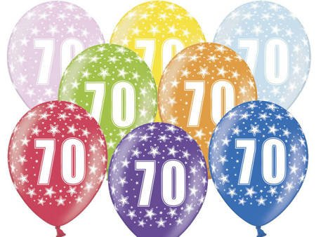 Balony 30 cm - 70th Birthday - 70 urodziny - Metallic Mix - 6 szt.