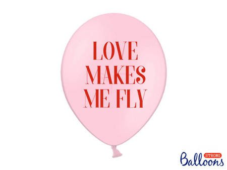 Balony 30 cm - Love makes me fly -  Pastel Baby Pink - 50 szt.