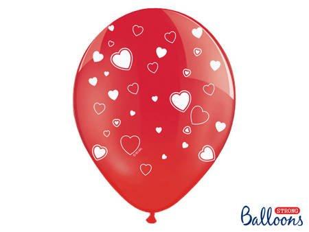 Balony 30 cm - Serca - Czerwone - Crystal Poppy Red - 50 szt.