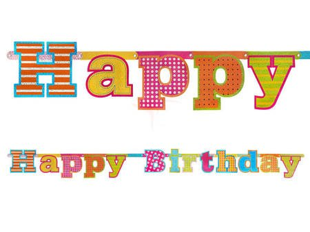 Baner Happy Birthday - 16 x 166 cm