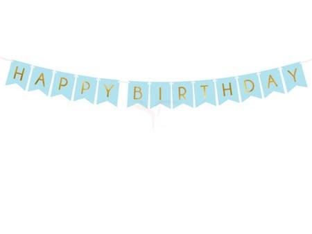 Baner Happy Birthday - jasny niebieski - 15 x 175 cm