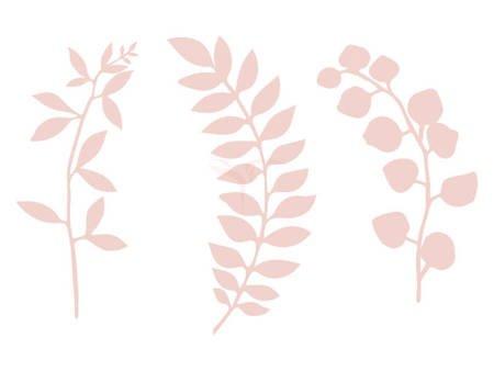 Dekoracja - Gałązki z listkami - pudrowy róż - 9 szt.