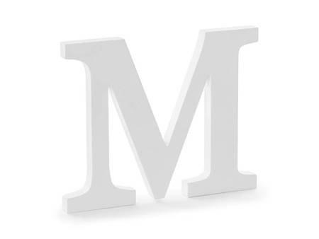 Drewniana litera M - 25 x 20 cm - biały