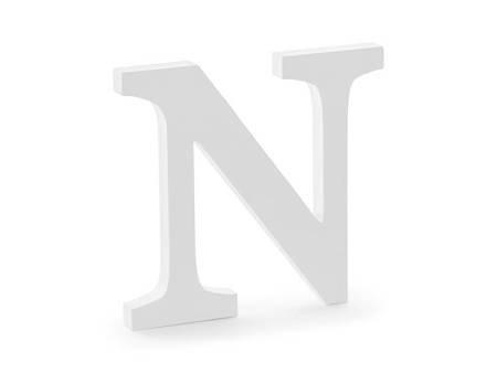 Drewniana litera N - 21,5 x 20 cm - biały