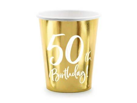 Kubeczki 50th Birthday - 50 urodziny - złoty - 220ml - 6 szt.