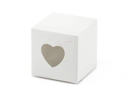 Pudełeczka na prezenty - Serce - Białe - 10 szt.